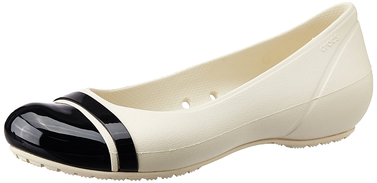 61e3d1b82bff9 Crocs Women s Cap Toe Flat Stucco and Black Rubber Ballet Flats - W7  Buy  Online at Low Prices in India - Amazon.in
