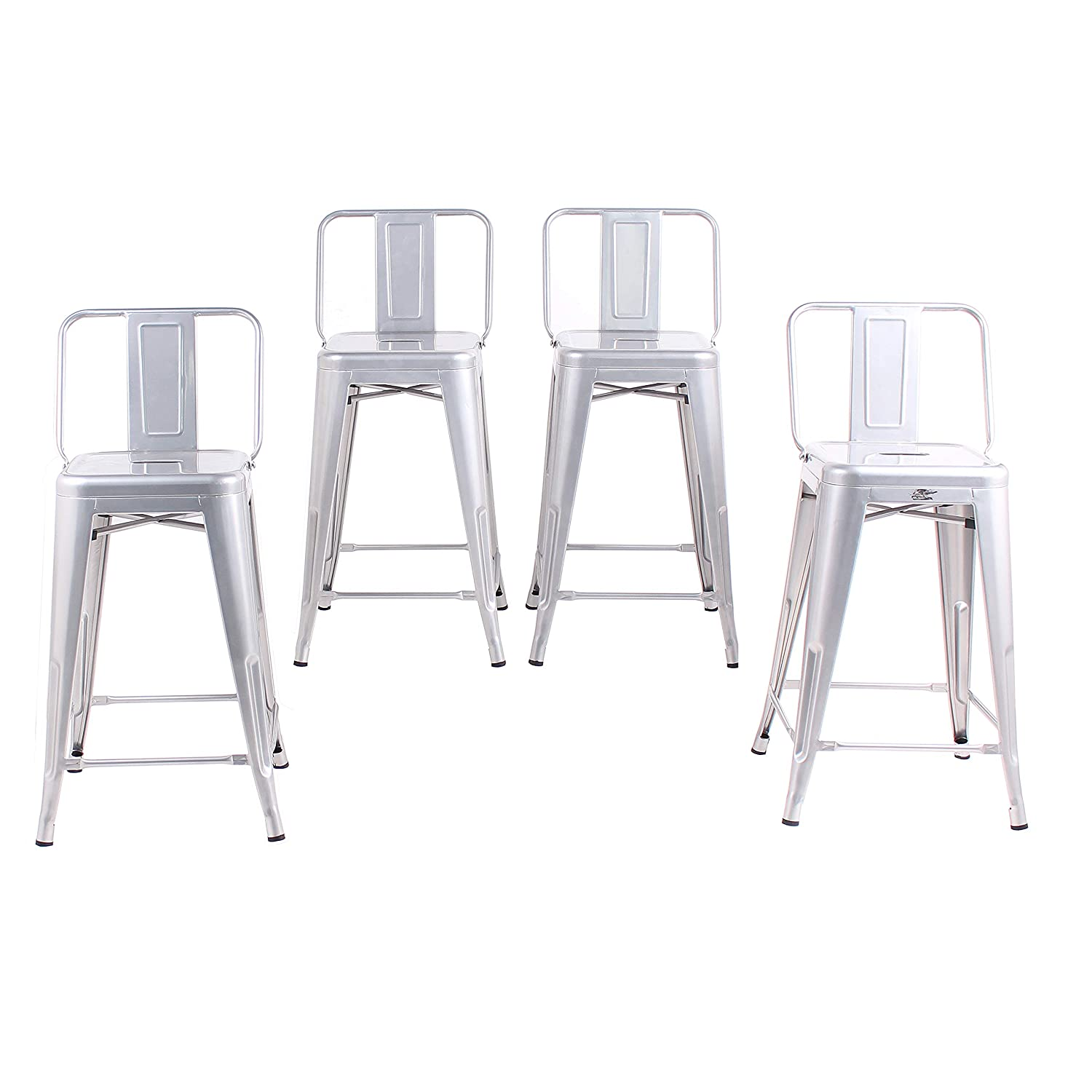 Buschman Set of 4 Grey 24 Inch Counter Height Metal Bar Stools with Medium Back Indoor Outdoor