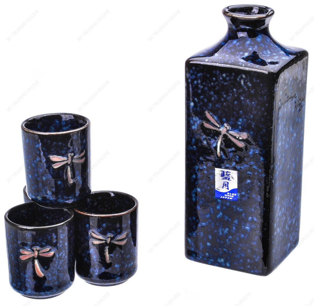 M.V. Trading MBD7NV Japanese Square Style Five Piece Sake Set, Navy Blue Color with Dragon (12-Ounces Bottle / 2-Ounces Cups)