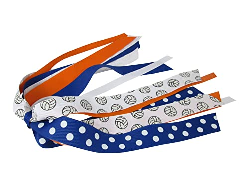 Volleyball Ponytail Holder Bow Blue White Ribbons Team Hair Ties Streamers