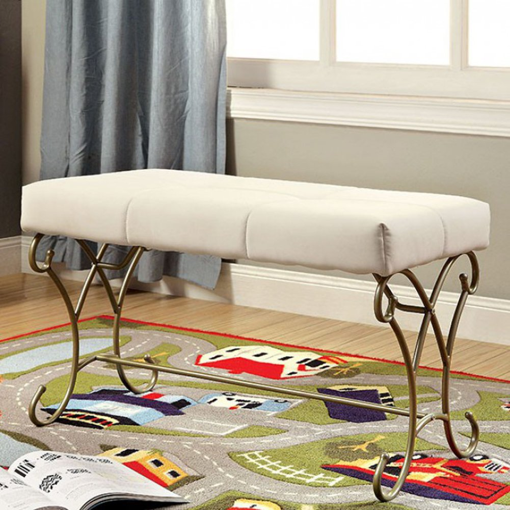 Bed Front Bench In Champagne & White Color