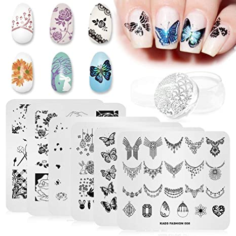 KADS 7 / 6Pcs Nail Art Stempelplatten Blume Schmetterling Ocean Print Maniküre Vorlagen mit 1 Stück polnischen Stamper (6 Pla
