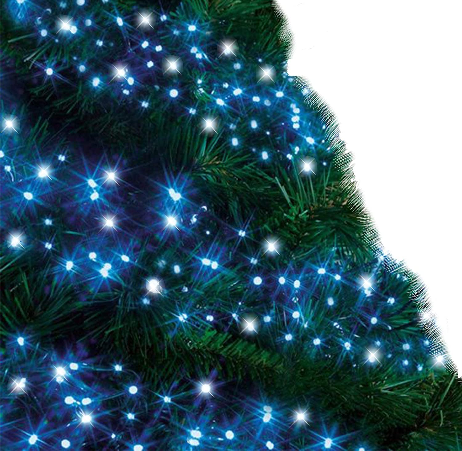 Christmas Lights 1000 LED 12m Blue and Cool White Alternative Outdoor  Cluster Tree Lights String Indoor Fairy Lights Memory Timer Mains Powered  39ft