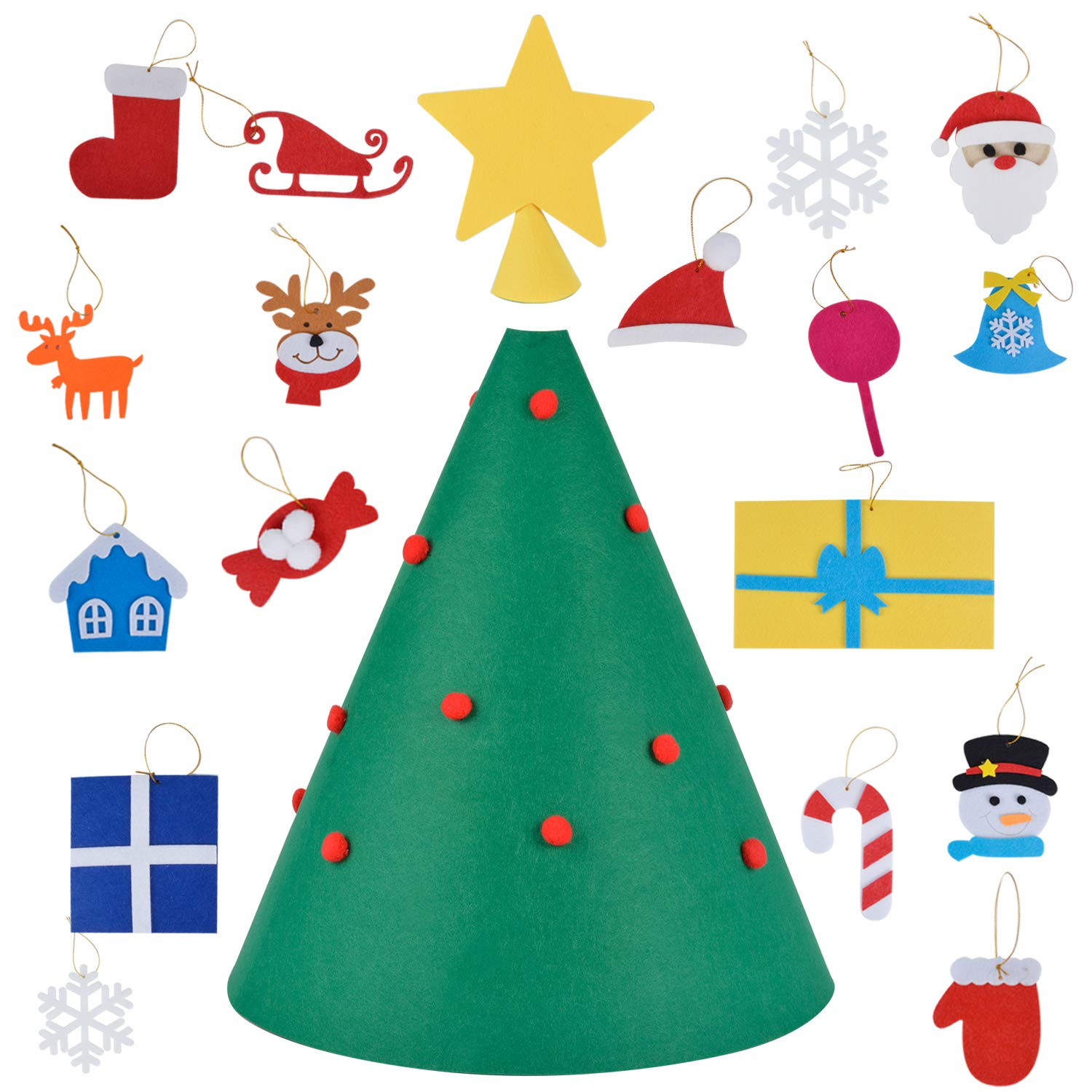 B bangcool Felt Christmas Tree for Kids 18PCS Christmas Craft Kit Xmas Tree DIY Handmade Ornament Kit Craft Supplies