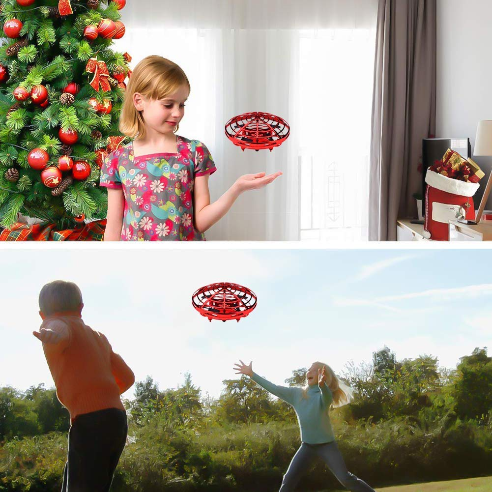 VIEE [Updated] Hand Operated Drone for Kids and Adults, UFO Flying Ball Drone Toys Mini Flying Ball Drone, Hand Controlled Helicopter Ball with 360°Rotating and Shinning LED Lights. (Red) by VIEE (Image #8)
