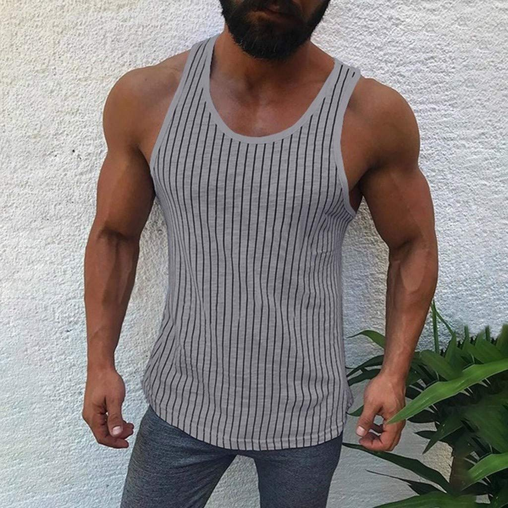 Mens Tank Tops Undershirt Fitness Muscle Striped Print Sleeveless Bodybuilding Tight-Drying Vest Tops by Dainzuy Gray by Dainzuy Men Tops (Image #2)