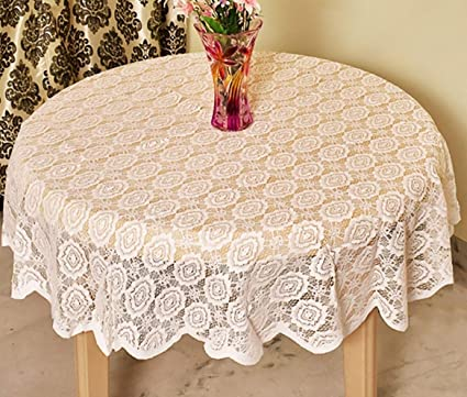 Griiham 4 Seater Elegant Floral Embroidered Round Table Cloth Size 60 inches - (White)