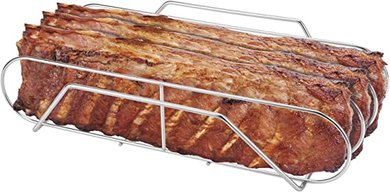 """SOLIGT Extra Long 304 Stainless Steel Rib Rack for 18"""" or Larger Grills - Holds up to 3 Full Racks of Ribs"""