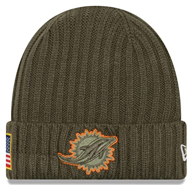 e9d19e912ce New Era Men s Men s Dolphins 2017 Salute to Service Cuffed Knit Hat Olive  Size One Size at Amazon Men s Clothing store