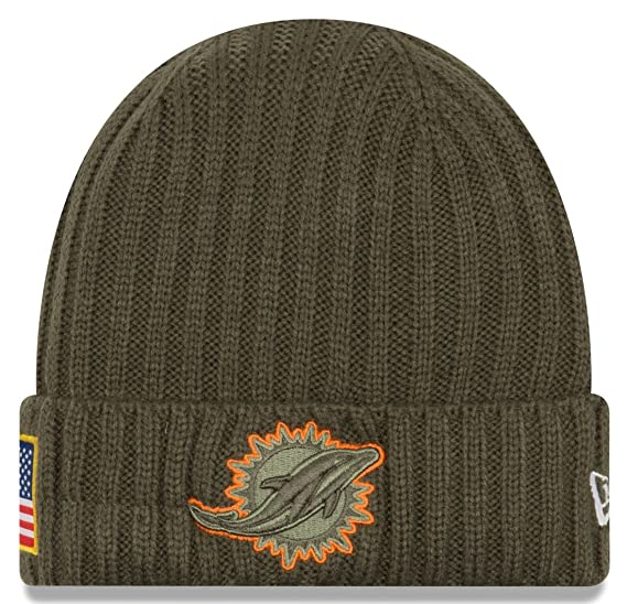 New Era Men s Men s Dolphins 2017 Salute to Service Cuffed Knit Hat Olive  Size ... a0ab105d0