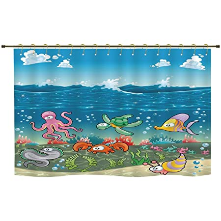 Shower Curtainnautical Kidsfamily Of Marine Animals Under The Sea