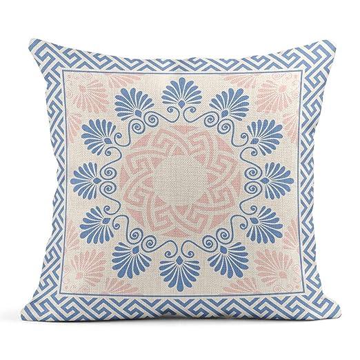 Cojín Clave Tradicional Vintage Rosa Blanco y Azul Redondo ...