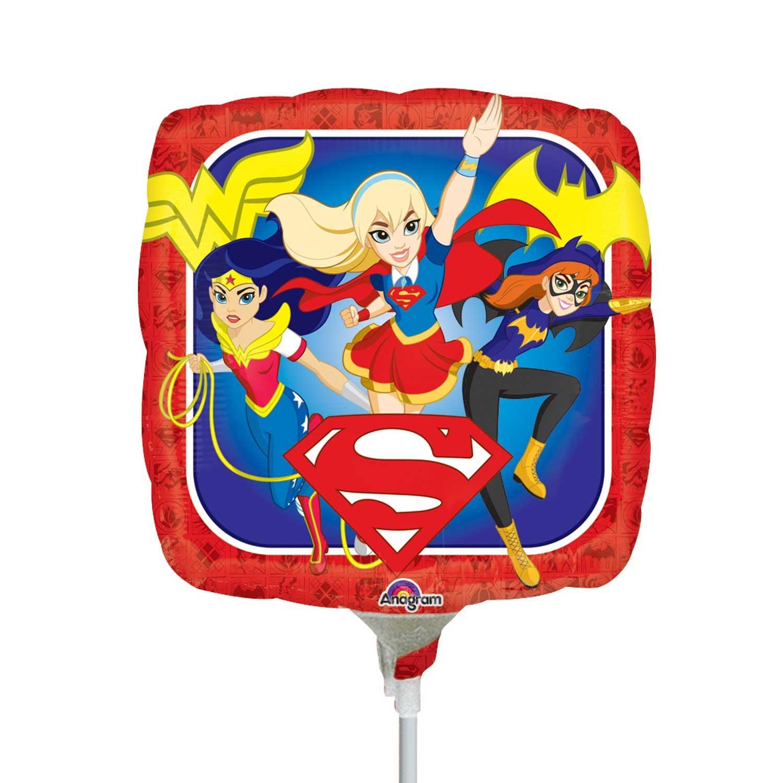 DC Super Hero Girls Square Mini Shape Foil Balloon (Inflated Stick ...