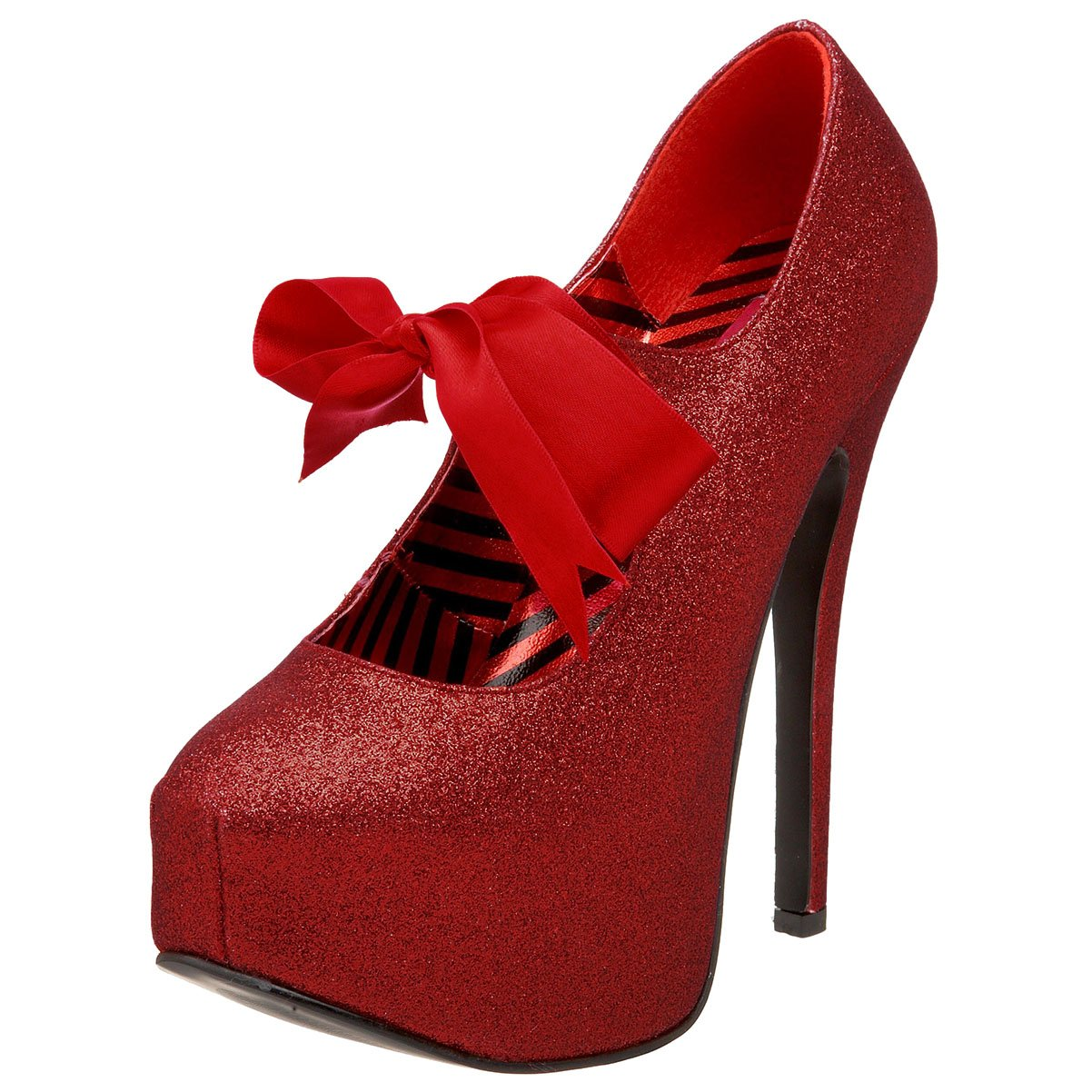 Amazon.com | Womens Glitter Mary Jane Platforms Red Bow 5 3/4 Inch ...