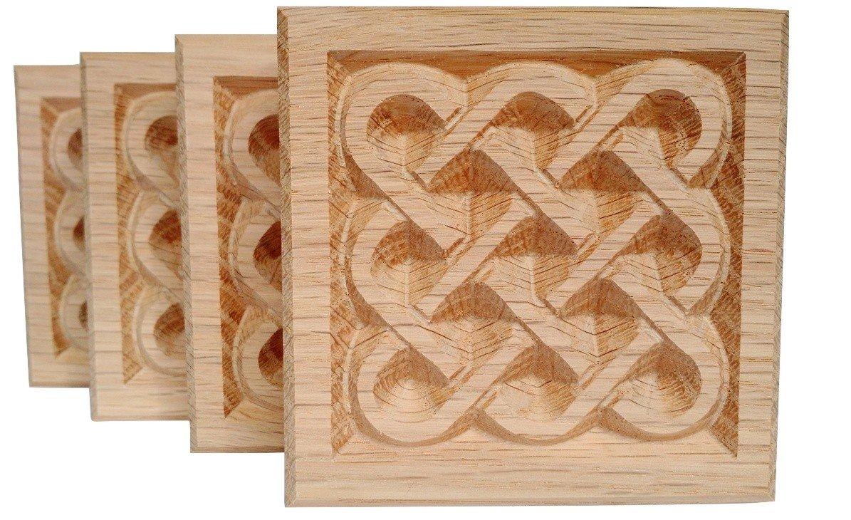 SET OF 4:Carved Basketweave Rosette Blocks, Made in USA (3.5''x3.5'' RED OAK)