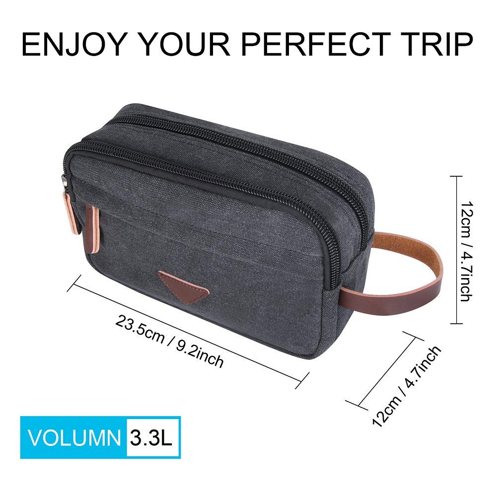 Mens Toiletry Bag,Canvas Leather Travel Cosmetic Organizer Bag Shaving Dopp Kit Bag Gray