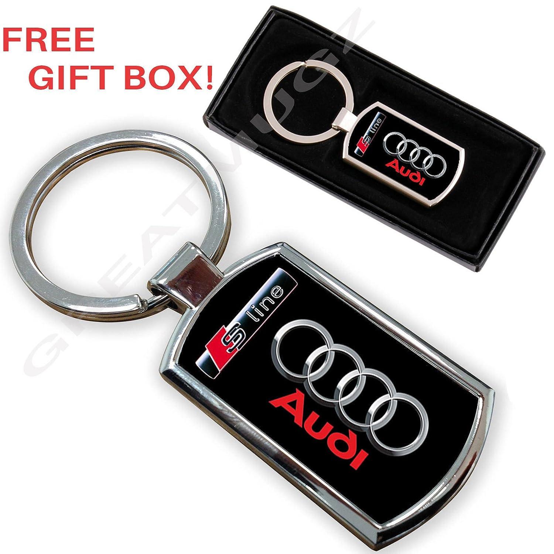 Llavero de coche para Audi S-Line, anilla de cromo y metal ...