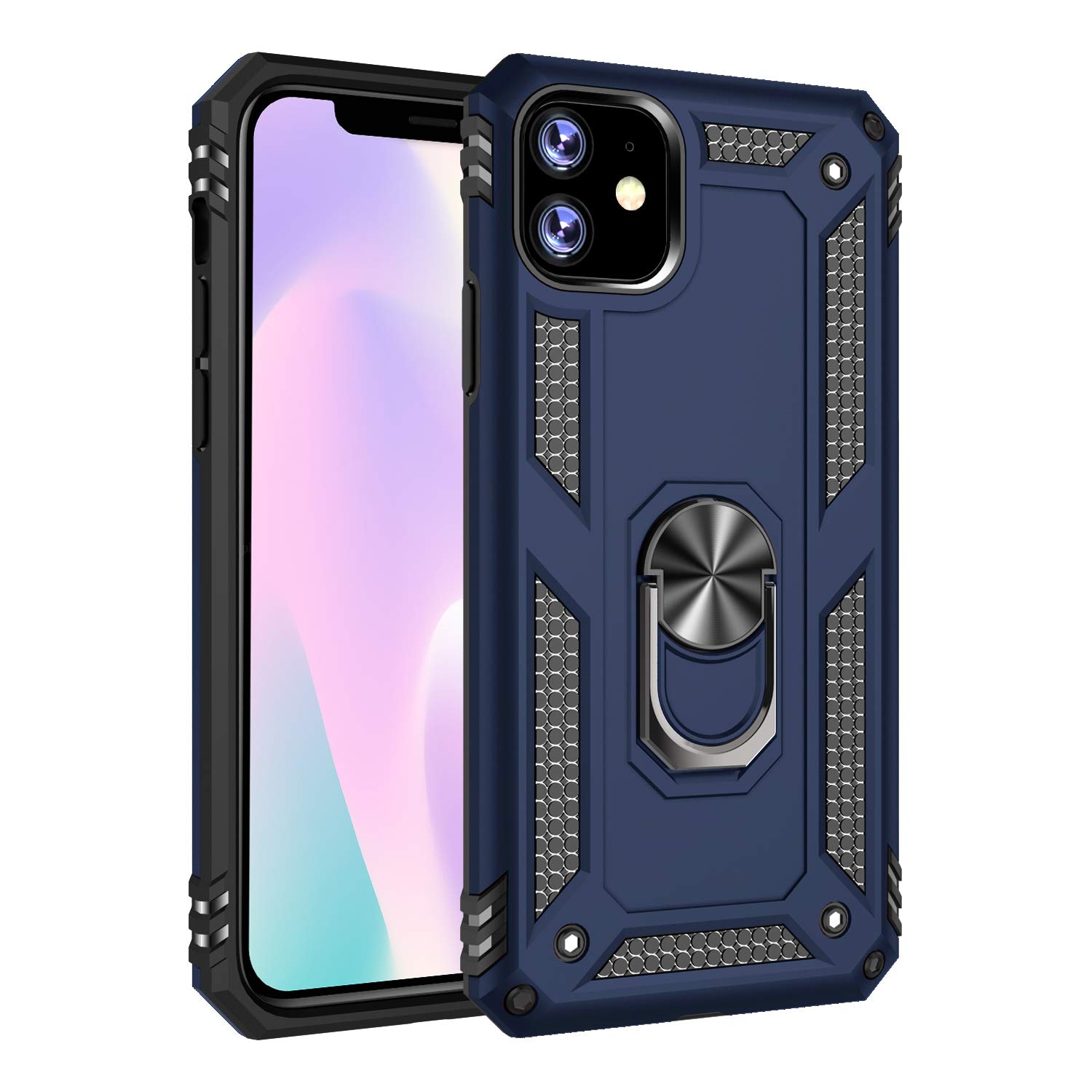 iPhone 11 (iPhone 2019 6.1 Inch) Case, Futanwei Military Grade Rugged Armor Shockproof Phone Case with Metal Finger Ring Kickstand [Fit Magnetic Car Mount] for Apple iPhone 11 2019, Blue by Futanwei