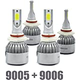 9005+9006 Combo 200W 20000LM CREE LED Headlight Kit High & Low Beam Light Bulbs