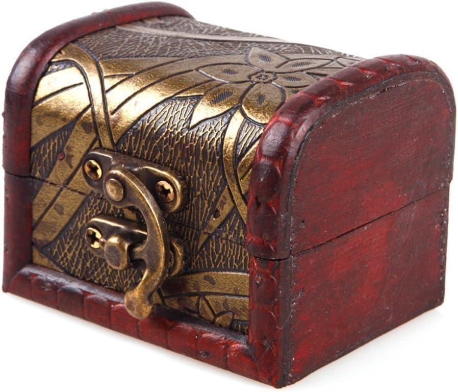 Vintage Metal Lock Wooden Storage Box Jewelry Treasure Organizer Chest Case Gift