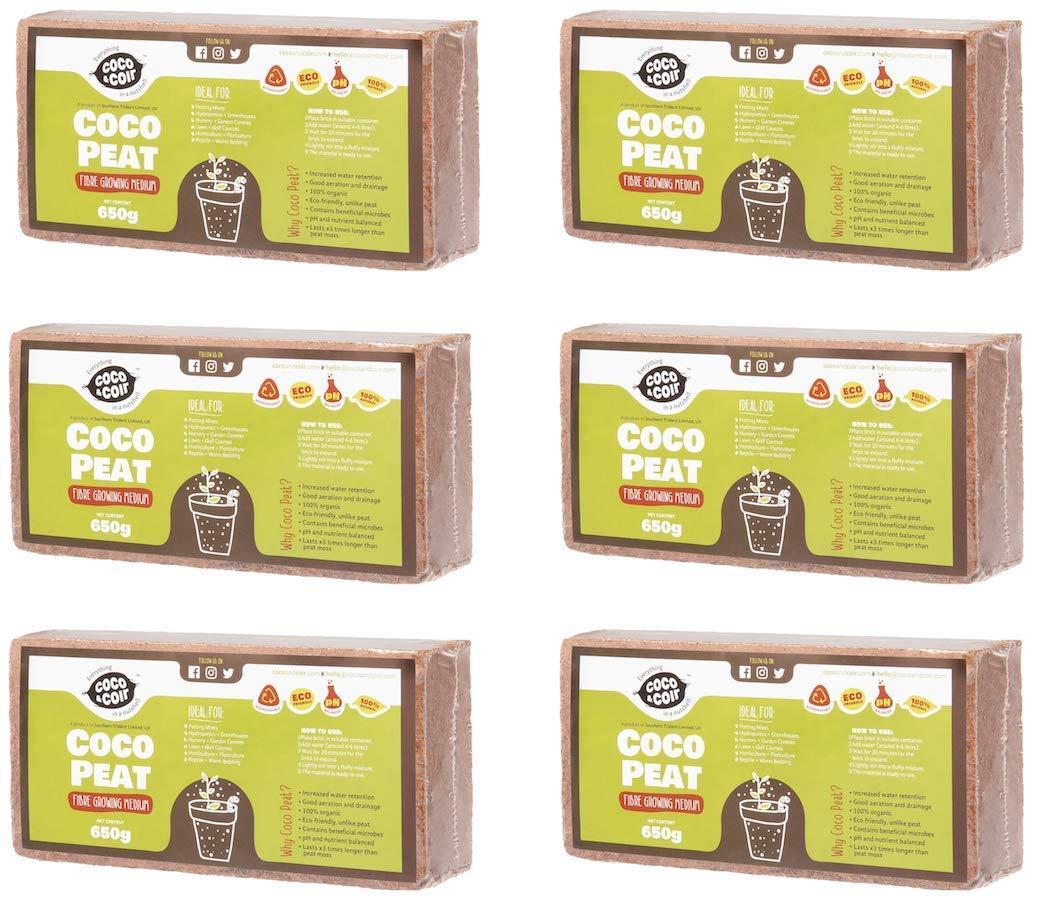 COCO&COIR 6 X 650g (9L) | ORGANIC | COCONUT FIBRE | 100% NATURAL | REPTILE FRIENDLY | GROWING MEDIA | PLANTING COCO SOIL | PREMIUM QUALITY COMPRESSED COIR BRIQUETTES | COCONUT COIR BRICK