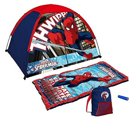 Marvel Ultimate Spider-Man tienda de campaña y saco de dormir 4 piezas Divertido Kit