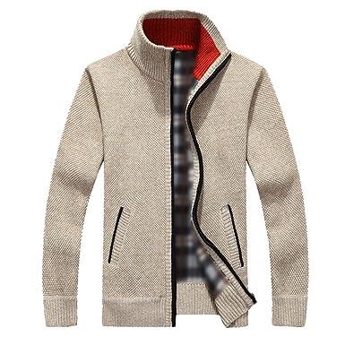 671449a2efa65 YeYan Hommes Motif Pull Cardigans Manteau Veste En Maille Sweatshirt  Manches Longues Avec Fermeture A Glissière