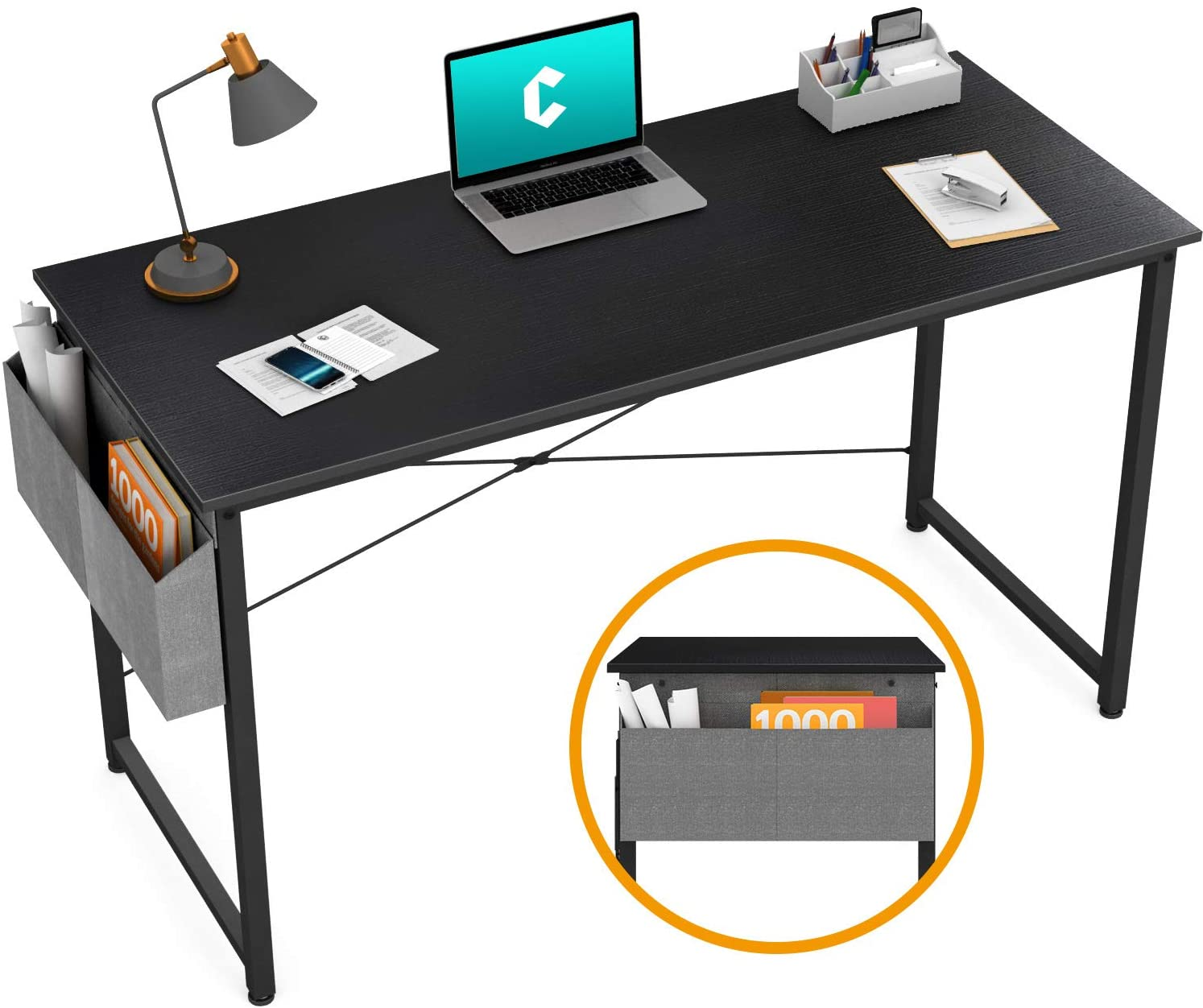 """Cubiker Writing Computer Desk 39"""" Home Office Study Desk, Modern Simple Style Laptop Table with Storage Bag, Black"""