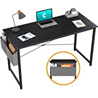 "Cubiker Writing Computer Desk 39"" Home Office Study Desk, Modern Simple Style Laptop Table with Storage Bag, Black"