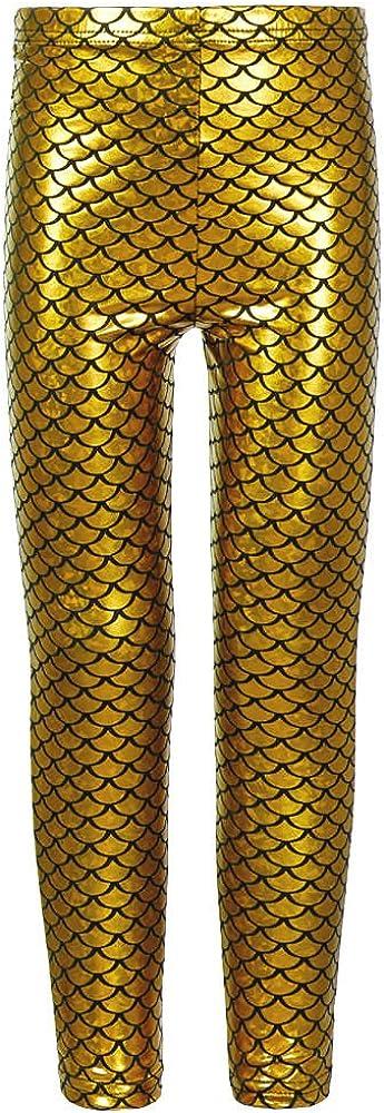 Girls Kids Fish Scale Mermaid Holographic Slim Metallic Leggings Age 5-13 Years