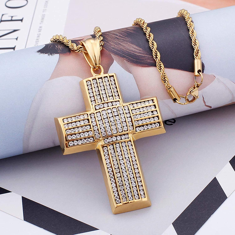 LOPEZ KENT Pendant Necklaces for Men Stainless Steel Cubic Zirconia Necklace Cross Necklaces Chain Necklace Gold