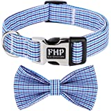 Fourhorse Cute Soft Dog with Bowtie , Detachable Adjustable Bow Tie Collar Pet Gift (XS, Blue Grid)