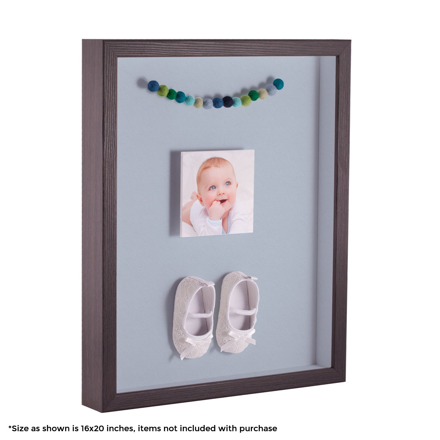 ArtToFrames 12 x 18 Inch Shadow Box Picture Frame, with a Melinga Oak Gray 1'' Shadowbox Frame and Baby Blue Mat