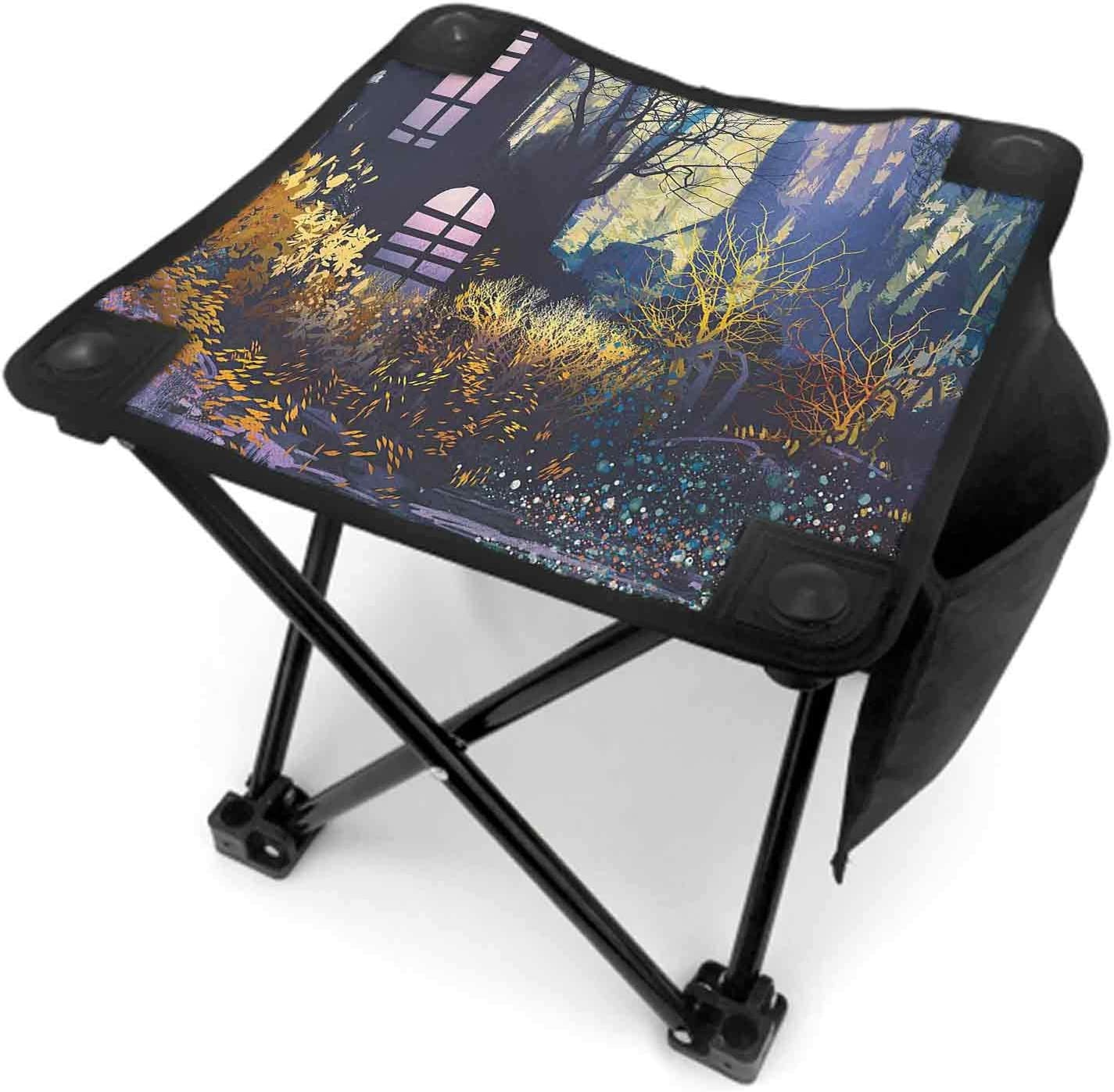 Fantasy Folding Stool Portable with Carry Bag, Mystical House in Tree Trunk with Windows Ancient Lost City Animation Nature Print Lightweight Sturdy Stool Multicolor