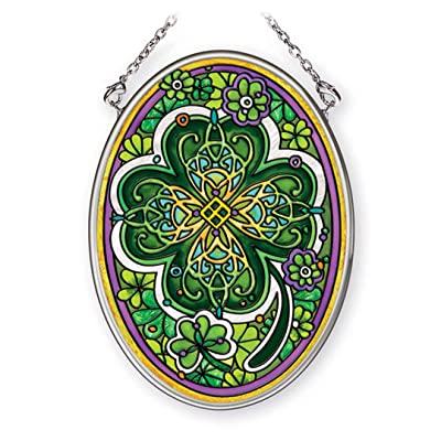 "Amia Small Four Leaf Irish Clover, Hand-Painted Glass Oval Suncatcher, 4-1/4 Inches High, 42368, 4-1/4"": Home & Kitchen"