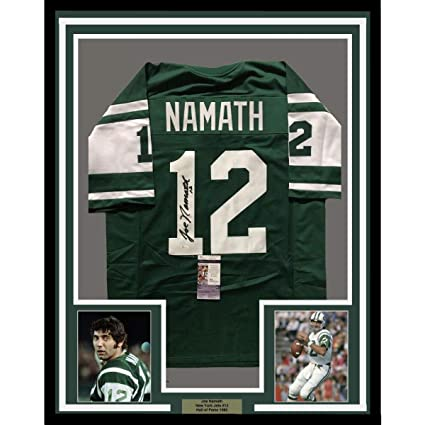 Image Unavailable. Image not available for. Color  Framed Autographed Signed  Joe Namath 33x42 New York Jets Green Football ... 20cdb5df0