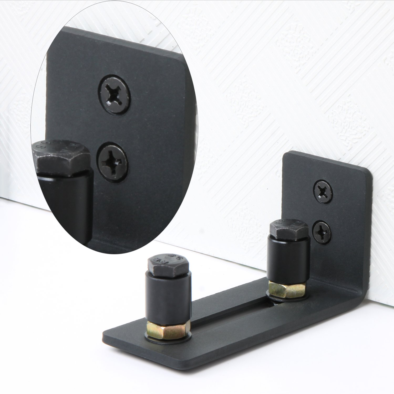 Stay Roller Guide Sliding Barn Door Bottom Guide Adjustable Floor Guide Wall Mounted Hardware with Black Power Coat-Flush to Floor (2 Pack) by NIUBEE (Image #6)