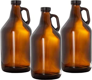 Glass Growlers for Beer, 3 Pack with Funnel - 64 oz Growler Set with Lids - Great for Home Brewing, Kombucha & More