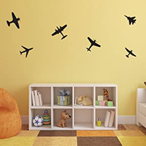 """Set of 6 Vinyl Wall Art Decals - Airplanes Patterns - 5"""" x 5"""" Each - Cool Adhesive Sticker Shapes for Kids Toddlers Teens Bedroom Playroom Living Room Home Apartment Decorations"""