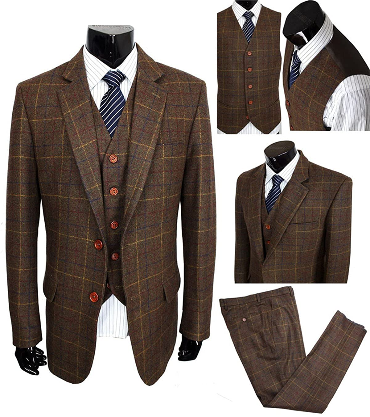 Yunjia Classic Vintage Brown Tweed Herringbone Wool Blend Men Suit 3 Pieces Check Plaid Dark Green Striped Blazer