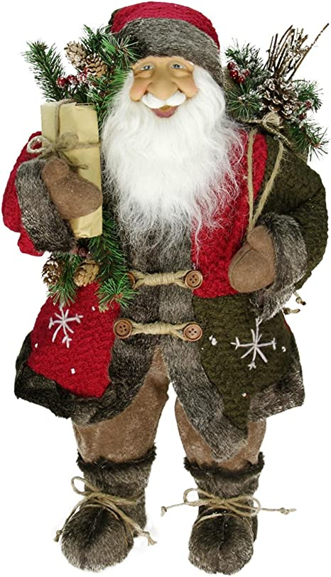 Amazon Com Northlight 24 Country Rustic Standing Santa Claus Christmas Figure With Knitted Snowflake Jacket Home Kitchen