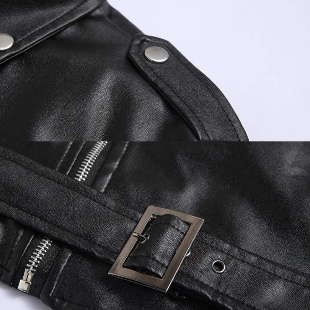 SIMANLI Faux Leather Jacket Zipper Coat Winter Outwear Bike Motorcycle Jacket for Men Boys /¡/ Black