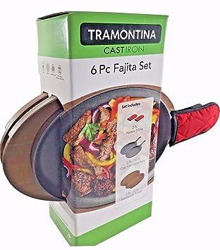 Tramontina hierro fundido 6 pc Fajita - Juego de dos sartenes ...