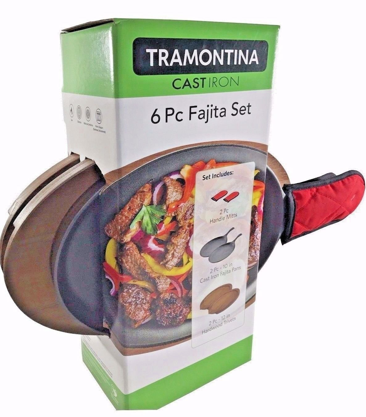Tramontina Cast Iron 6 Pc Fajita Set - Two Pans, Mitts, Wood Trivets Each