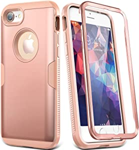 YOUMAKER Designed for iPhone 8 Case & iPhone 7 Case, Full Body Rugged with Built-in Screen Protector Heavy Duty Protection Slim Fit Shockproof Cover for Apple iPhone 8 (2017) 4.7 Inch - Rose/Pink