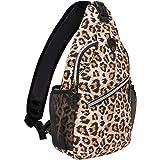 MOSISO Sling Backpack,Travel Hiking Daypack Leopard Print Rope Crossbody Bag