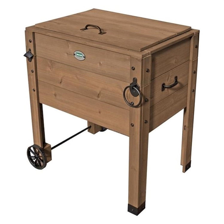Nevera portátil de madera para jardín con ruedas: Amazon.es: Hogar