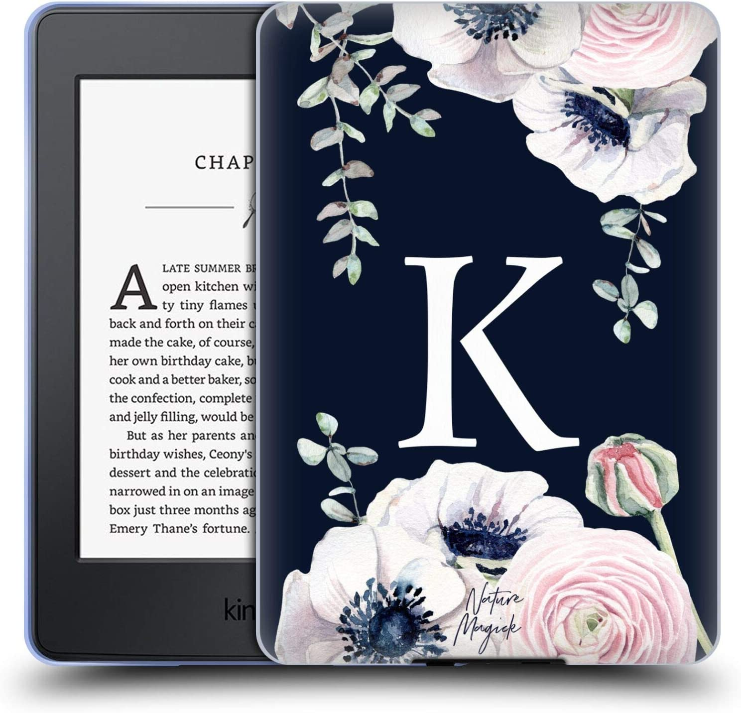 Head Case Designs Officially Licensed Nature Magick Letter K Floral Monogram Navy Flowers 1 Soft Gel Case Compatible with Kindle Paperwhite 1/2 / 3
