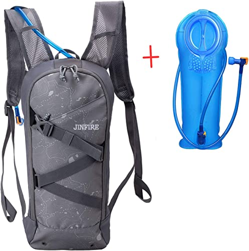 JINFIRE Hydration Pack Water Backpack with 2L Water Bladder for Running, Cycling, Hiking, Climbing, Obsidian