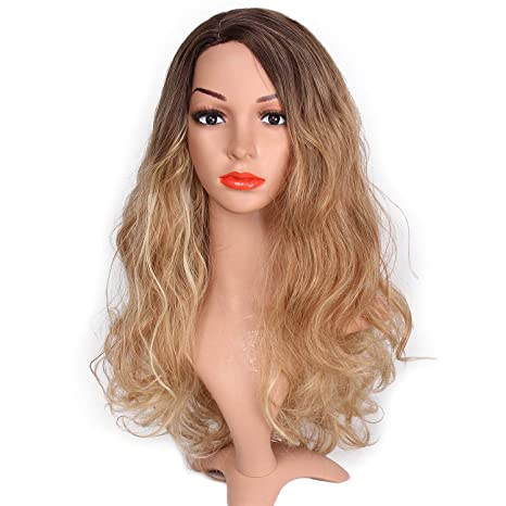 Amazon.com  DANTB Natural Looking Honey Blonde Wig Fashion Synthetic ... 738be9ccfb